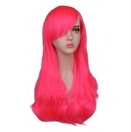 Women Long Wavy Cosplay Wig Red Rose Pink Black Blue Sliver Gray Brown 70  Cm Temperature Synthetic Hair Wigs fcd6e397959b