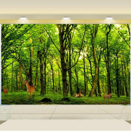 Discount forest backdrops custom size 3d photo wallpaper living room bed room mural Elk Green Forest view 3d picture sofa TV backdrop wallpaper non-woven sticker