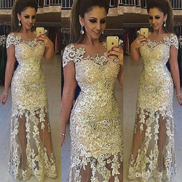 Wholesale 2019 New Sexy Cheap Prom Dresses Jewel Neck Illusion Short Sleeves Lace Appliques Sheer Long Sheath Evening Dress Party Pageant Formal Gowns