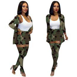 Wholesale pantyhose sizing resale online - Women Designer Plus Size Jacket Suit Shorts Pantyhose Camouflage Piece Set Outfits Sexy Long socks Coats Outerwear Casual Clothes