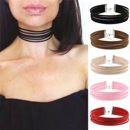 Flannelet Multilayer Gargantilla Collar Collar Color Caramelo Gargantilla Collares Colgantes para Las Mujeres Joyería de Moda Will y Sandy DROP SHIP 161840 en venta