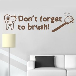 $enCountryForm.capitalKeyWord Australia - Don't forget to brush Quotes Wall Decal Dental Stickers Art Bathroom Vinyl Decor Mural Waterproof Wallpaper Cute Baby Room