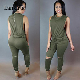 women lace bandage jumpsuit NZ - Women hole sleeveless bandage lace up jumpsuit Casual Rompers overalls for female women o-neck zipper jumpsuits summer