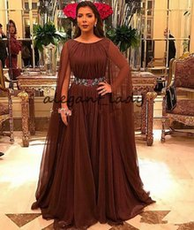 Long Chiffon Belts Australia - Jewel Neck Brown Mother of the Bride Dresses with Long Cape 2019 Pleated Chiffon Crystal Belt Mother of The Groom Formal Occasion Dress