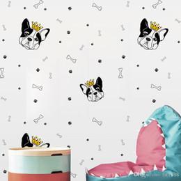 Funny Bones Cartoon Australia - YQT075 Personalized Funny Creative Cartoon Dog head Bone DIY Wall Sticker Wallpaper Waterproof Removable Vinyl Decal Living Room Home Decor