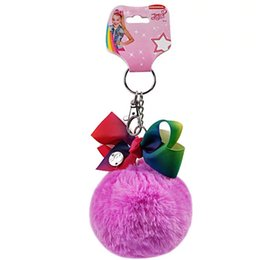 Artificial Chains Wholesalers Australia - Key Rings JOJO SIWA BOW Hairbands Rainbow Hairpins with card Fly Horse baby girl Children POMPON Ball Key Chains Hair Accessories hair clips