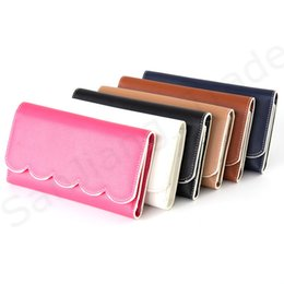 Wallets clutches for Women online shopping - PU Leather Scalloped Wallet for Women Blanks Monogram Long Clutch Purse with Card Pocket Cash Pouch Envelope Purses With Scalloped Eages