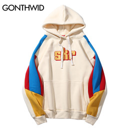 block fashion men NZ - wholesale Color Block Patchwork Fleece Hooded Sweatshirts 2018 Autum Men Embroidery Pullover Hoodies Streetwear Male Fashion Tops
