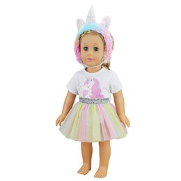 unicorn doll toy UK - 18 inch American doll clothes Unicorn costume handmade Silver Waist lace skirt newborn dress Baby toys fit 43 cm baby dolls
