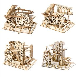 Wholesale Robotime Kinds Marble Run Game DIY Waterwheel Coaster Wooden Model Building Kits Assembly Toy Gift for Children Adult AIJILE