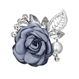 69ed4e95052 Wholesale Cloth Brooch UK - Fashion Cloth Flower Brooch Pin for Scarf Cute  Pearl Pins and