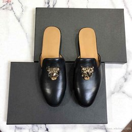 $enCountryForm.capitalKeyWord NZ - 2019 Spring summer fashion show new shoes,Men cowhide slippers in solid color with skull pattern,hot sale in