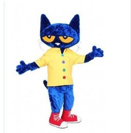 $enCountryForm.capitalKeyWord Australia - New Profession Pete the Cat Mascot Costumes Halloween Cartoon Adult Size Blue cat Fancy Party Dress free shipping