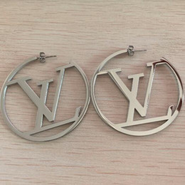 New Arrival Top Quality Luxurious Hoop Earrings 3 Colors V Letter Stainless Steel Ear Studs Hip Hop Jewelry For Women Party Gifts Wholesale on Sale
