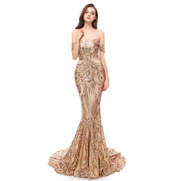 fddf7a53f52e7 2019 Off the shoulder Prom Dresses with sequins Party Dresses sweep train  Mermaid Evening Gowns Vestidos Graduation Dresses