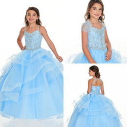 Wholesale girls yellow jacket for sale - Group buy 2020 Baby Blue Removable Jacket Girls Pageant Dresses Spaghetti Straps Ball Gown Beading Crystal Girl Birthday Party Flower Dress