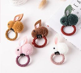 Korean baby rings online shopping - Fall and Winter Hair Ball Rabbit Hair Ring Girl Cute Cartoon Tie Hair Ornament Korean Baby Headdress Girl