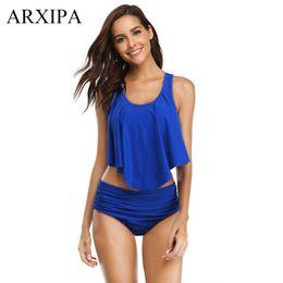 $enCountryForm.capitalKeyWord Australia - ARXIPA High Waist Retro Bikini Ruched Swimsuit Two Piece Separate Swimwear Women Plus Size Bathing Suit Flounced Swim Wear Solid