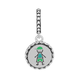 $enCountryForm.capitalKeyWord UK - Boy Stick Figure Dangle Charms for Jewelry Making Silver 925 Jewelry Family Boy Silver Charms for Women Bracelets DIY Pendants