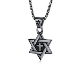 gold pendant design star Australia - Fashion Cross Men Stainless Steel Six Star Pendant Necklace Snake Chains Hip Hop Jewelry Design Gold Silver Black Necklaces For Mens Gift