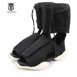 $enCountryForm.capitalKeyWord Australia - New Euro Fashion Personalized high top Handmade Vintage Punk Rome Sandals Causal thick sole flat open toe men High beach sandals