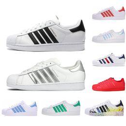 men casual grey shoes 2019 - White Hologram Iridescent Junior Superstars Pride Sneakers Hot 2019 Originals Superstar Women Men Sport Casual Shoes 36-