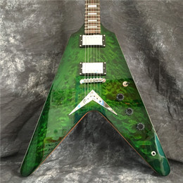 v shaped guitars UK - Green V-shaped electric guitar with silver hardware, flame maple veneer, can be customized according to requirements, free shipping