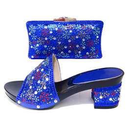 $enCountryForm.capitalKeyWord Australia - 2019 New Italian Rhinestone Woman Party Shoes And Bag Set African Blue High Heels Sandals Shoe And Matching Bag Set For Wedding