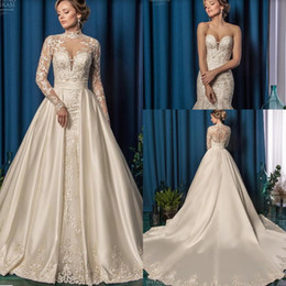 $enCountryForm.capitalKeyWord Australia - Amelia Sposa Mermaid Wedding Dresses with Detachable Train and Long Sleeve Jacket 2019 Full Lace Applique Trumpet Wedding Bridal Gown