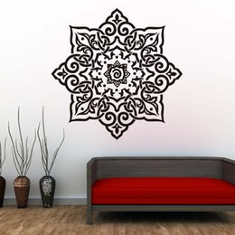 wall stickers yoga Australia - 1 Pcs Yoga Mandalas Flower Wall Stickers Indian Pattern Vinyl Wall Art Decals Home Decor Removable Waterproof Wallpaper