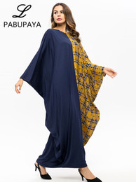 $enCountryForm.capitalKeyWord NZ - Plaid Batwing Sleeve Kaftans Womens Maxi Abaya Long Robes Islamic Muslimas Style Casual Wear Party Cocktail Dresses Loose Gown