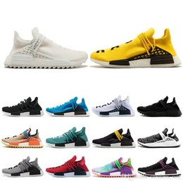 trail trainers UK - Designer Human Race Hu trail pharrell williams men running shoes Nerd black cream Orange red mens trainer sports runner sneakers size 36-47