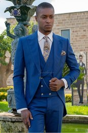 $enCountryForm.capitalKeyWord Australia - Royal Blue Tailcoat Men Wedding Tuxedos New Fashion Groom Tuxedos Peak Lapel One Button Men Dinner Prom clothes(Jacket+Pants+Tie+Vest) 1557