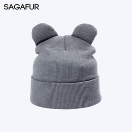 4691234f 8 Solid Color Winter Knitted Hats For Girls Cap Women's Beanies With Cat  Ears Fashion Horn Hat Warm Plain Cute Skullies Bonnet S18120302