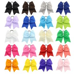 wholesale large alligator hair clips NZ - Hair Bow 7inch Large Cheer Bow Hot sale 50pcs Baby Girl Solid Ribbon Cheer Bows With Alligator Clip Handmade Girls Cheerleading Bows