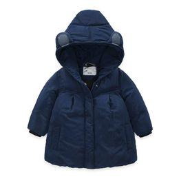 $enCountryForm.capitalKeyWord NZ - Girls Winter Coat Parka Dark Blue Children's Clothes for baby girl Jacket Solid color Warm Hooded Cotton Thicken Outerwear