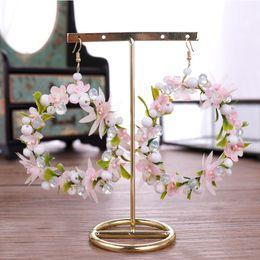 Discount crystal wreath - FORSEVEN Korean Sweet Pink Wreath Crystal Beads Pearl Flower Circle Round Hoop Earrings Women Girl Wedding Party Dating