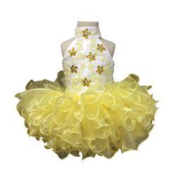 $enCountryForm.capitalKeyWord Australia - Luxury Beads Crystal Ruffle Tutu Ball Gowns Toddler Girls Pageant Dresses 2019 Real Photos Jewel Baby Bithday Communion Organza