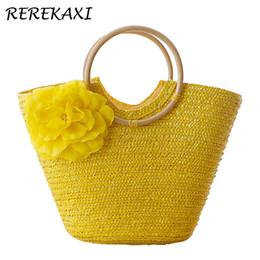 $enCountryForm.capitalKeyWord Australia - Rerekaxi Flower Summer Beach Bag Wheat Pole Weave Woman's Handbag Bohemian Lady's Straw Bags High Capacity Travel Totes. Bolsas Y19061204