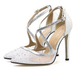 Pointing Nude Women Shoes Australia - Luxury rhinestone beige bottom meshy high heels pointed pumps women wedding shoes nude black size 35 to 40