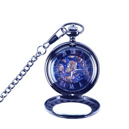Chinese  2019 new pocket watch foreign trade flip magnifier individuality blue retro hollow classic pattern Mechanical Pocket Watch manufacturers