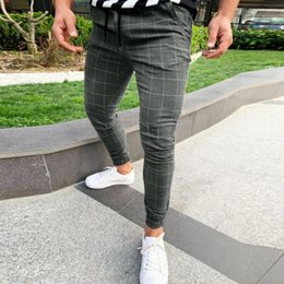skinny trousers NZ - Mens Slim Fit Pants Skinny Chino Pants fashion pocket Men's Plaid Straight Leg Trousers Casual Pencil Jogger Casual Plaid