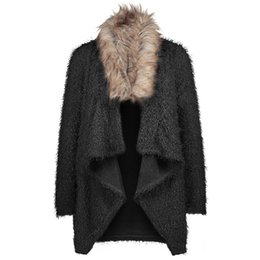 Chinese  All Match Knit Cardigan Top Long Sleeve Jackets Fabala Fur Collar Casual Sweater Autumn Winter manufacturers