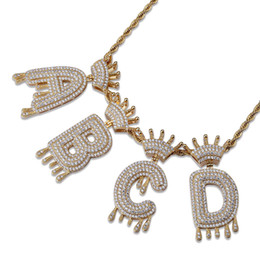 popcorn tins gifts 2019 - Custom Name Fulled with Bling Crystal Crown Drip Initials Bubble Letters Pendant Necklace Hip Hop Jewelry for Men Women