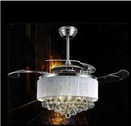 $enCountryForm.capitalKeyWord Australia - LED Modern Crystal Ceiling Fans With Lights Folding Ceiling Fan Remote Control Ceiling Light Fan Lamp Ventilador De Techo