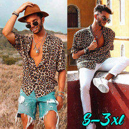 Wholesale coolest shirts for sale - Group buy NEW Men s Leopard Short Sleeve Shirt Summer Cool Loose Casual V Neck Shirts Tops
