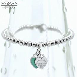 Fysara Brand Luxury Вечные двойные сердца Шары из бисера браслет для женщин пара Зеленый Розовый Шарм Браслеты C19041201 на Распродаже
