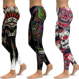 $enCountryForm.capitalKeyWord NZ - Skull Leggings Yoga Pants Women's Running Fitness Pants Sexy Jogging Push Up Elastic Gymnastics Wear Fine Leggings Workout