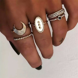 Wholesale Retro Ethnic Knuckle Ring Set Women Gold Color Moon Black Stone Turkish Jewelry Boho Crescent Midi Finger Bague Femme New