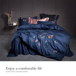 $enCountryForm.capitalKeyWord Australia - Butterfly Embroidered Cotton 4Pcs Bedding Sets Blue King Queen Size Bed Sheet Set Duvet Cover Pillowcases